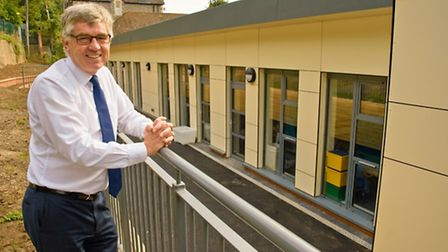 Headteacher Peter Treasure-Smith with some of the new facilities that have been built at the school.
