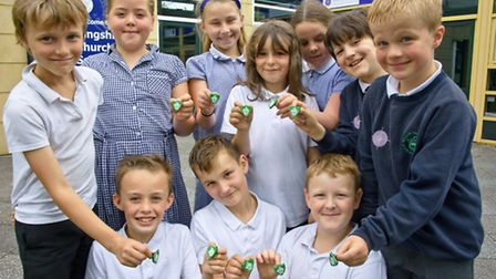 Pupils with their Blue Peter badges.