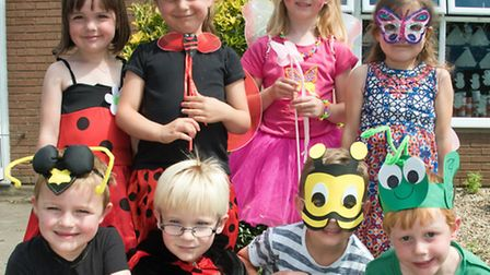 Golden Valley Primary's reception pupils holding an ugly bug ball.