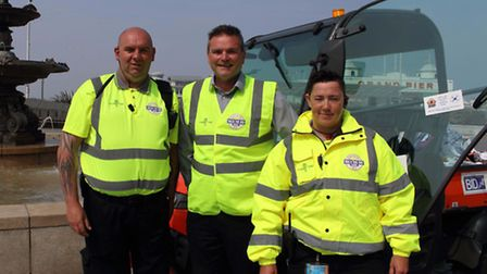 Town centre manager Steve Townsend with Weston BID street wardens Adrian Ley and Bridget Parsons.