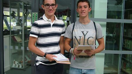 Edward Hague and Archie Bailey celebrating their good results at Nailsea School.