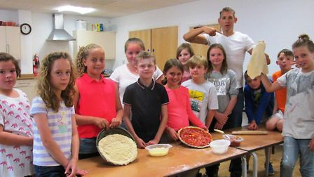 The children made pizzas at one session.