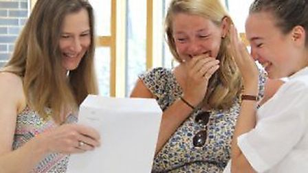 Happy students collecting their A-level results at St Katherine's. Photo courtesy of St Katherine's