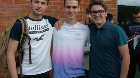 Sam Constable, Scott Pearce and David Harrison who are all heading for university after achieving to