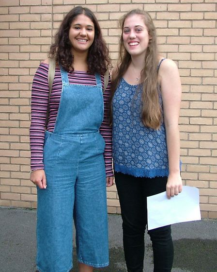 Bethany Watkins and Ella Bud opening their results at Backwell School.