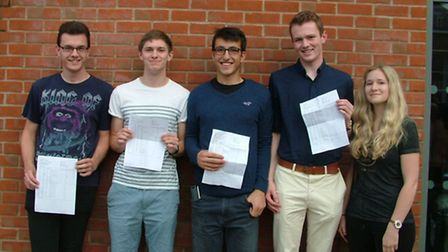 Dan Wagner, Jonathan Peel, Ben Curnow and Charlotte Perry celebrating their achievements on A-leve r