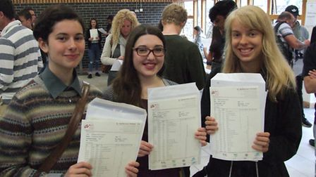 Lili Harvey, Lucy Curtis, Esther Goucher picking up their exam results at St Katherine's School in P