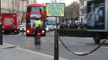 A placard calling for a People's Vote outside parliament in London. Photograph: Jonathan Brady/PA Wi