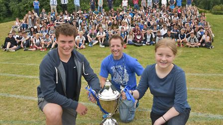House Champions, Marine house. Pictured with the trophy are Scott Ford and Janey Little and head of