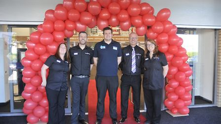 Staff at the unveiling of the new PC World and Currys store.