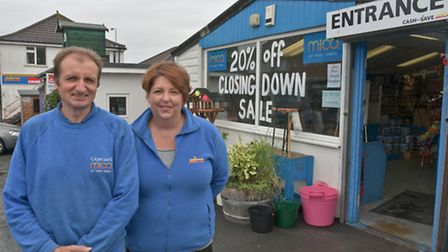 Cash Save Mica store in Backwell closing, owners Chris and Jane Townsend.