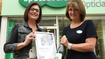 Jacqueline Powell with Audrey Reading from Specsavers. Photo by Rob Lacey.