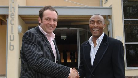 Nick Taplin and Colin Jackson at theclub's opening in 2006.