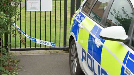 Police cordon at the triangle play-area off Moor Lane Worle.