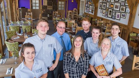 Staff at The Railway Inn. General manager Warren Zilch is pictured back row, second from the left. A
