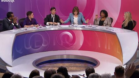 A panel on the BBC's Question Time time programme. Photograph: BBC.