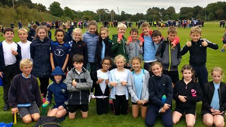 High Down Junior School's cross-country team after competing at Bristol Grammar School's Failand spo