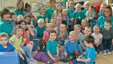 Staff and kids at Congresbury Preschool, they are hoping to run a new preschool at St Andrew's Schoo