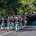 Avon and Somerset Police march through Weston on National Memorial Day.
