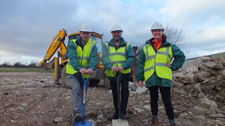 Puxton Park's management team breaking ground at the animal discovery barn site.
