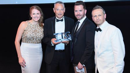 Miles Morgan collecting his award in London. Photo by Steve Dunlop.