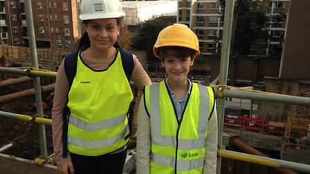 Grace and Morgan Burkinshaw taking part in the takeover challenge at Great Ormond Street Hospital.