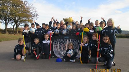High Down Junior School pupils with the new equipment.