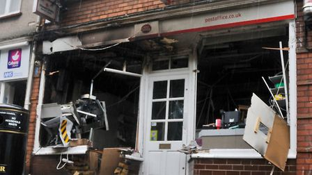 The explosion wrecked the front of Long Ashton Post Office back in January.