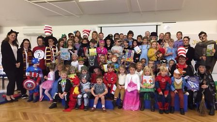 Children and staff in their costumes.
