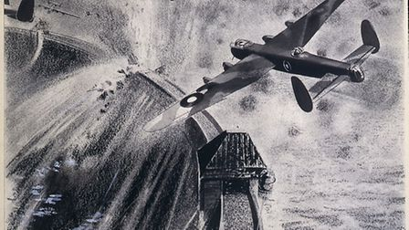 A drawing depicting Lancaster bombers attacking German dams during Operation Chastise, subsequently