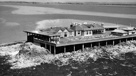 Birnbeck Pier during World War Two.