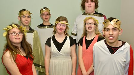 Dress rehearsal pic of Ravenswood School youngesters (at school) who are going to perform a Shakespe