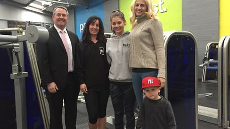 Dr Liam Fox MP visiting The Fitness Hub gym in Portishead.