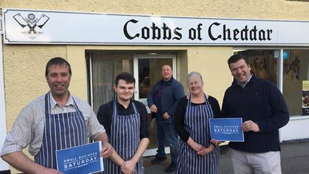 MP James Heappey with the owners of Cobbs of Cheddar butchers.
