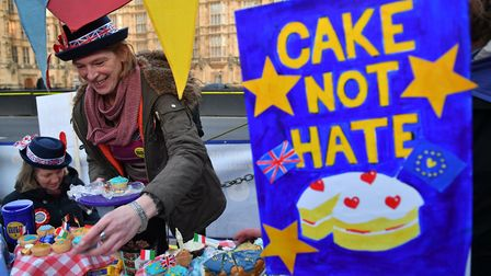 SODEM serving cake at an anti-Brexit protest outside Parliament. Photograph: Dominic Lipinski/PA Wir