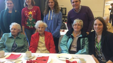 Clevedon School pupils with residents at Gorselands Care Home.