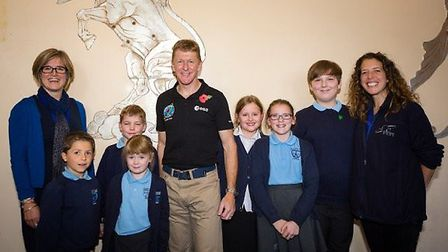 Tim Peake met pupils from St Mary's Primary School in Portbury. Picture: Christopher Ison/University