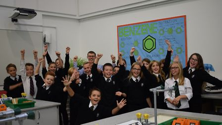 Year seven pupils with science teacher Mr Deacon.