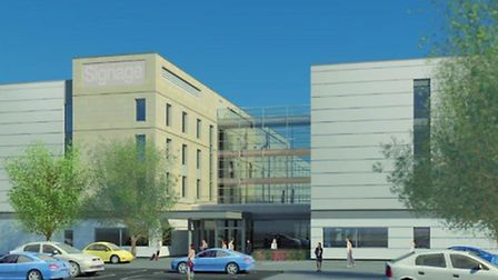 An artist's impression of what the Hampton by Hilton hotel will look like once it is built.