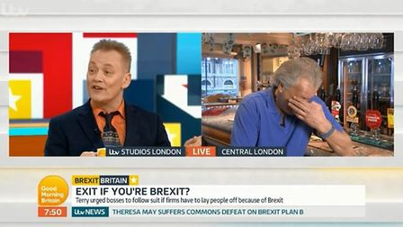 Terry Christian takes on Tim Martin on Good Morning Britain. Photograph: ITV.