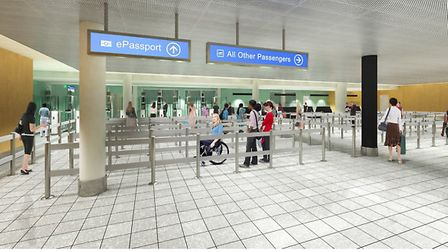 An artist's impression of what the new immigration hall at Bristol Airport will look like.