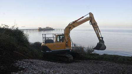 Builders have begun construction an access road down to Birnbeck Pier's north jetty ahead of the dem