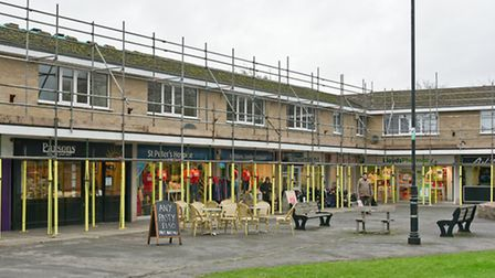 Scaffolding at Pages Court shopping precinct in Yatton High St.