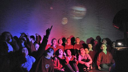 Kingfisher class from Court de Wyck School in a space dome exhibition at the village hall, Picture: