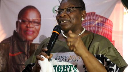 ACPN (Allied Congress Party of Nigeria) female presidential candidate Oby Ezekwesili speaks during a