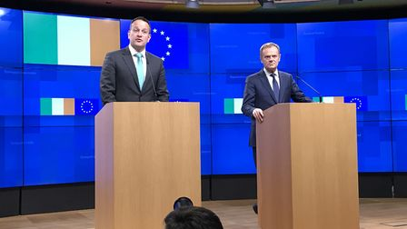 Taoiseach Leo Varadkar with President of the European Council Donald Tusk during a press conference at the European...