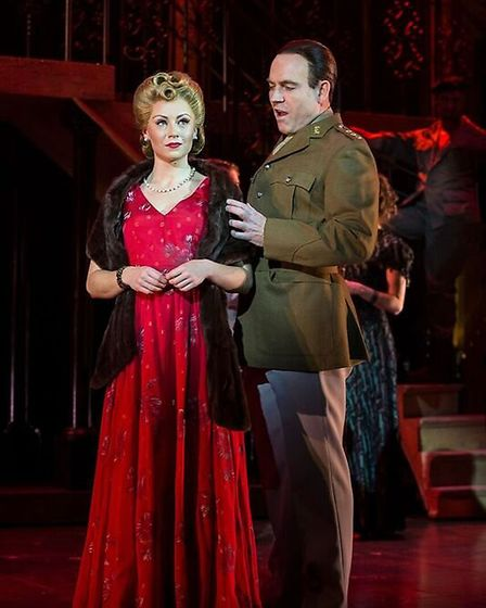 Evita, played by Emma Hatton, and President Peron, played by Kevin Stephen-Jones. Picture: Pamela Ra