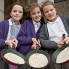 Pancake party in Congresbury St Andrew's Church.