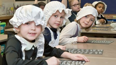 Year two pupils dressed up for Victorian day at Yatton Primary School.