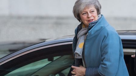 Prime Minister Theresa May arrives at the rear entrance of Downing Street, London. Photograph: Domin